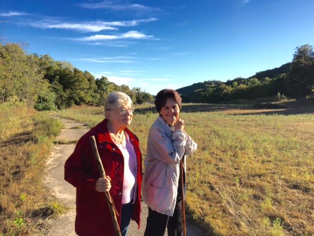 Gretchen and Phyllis walking